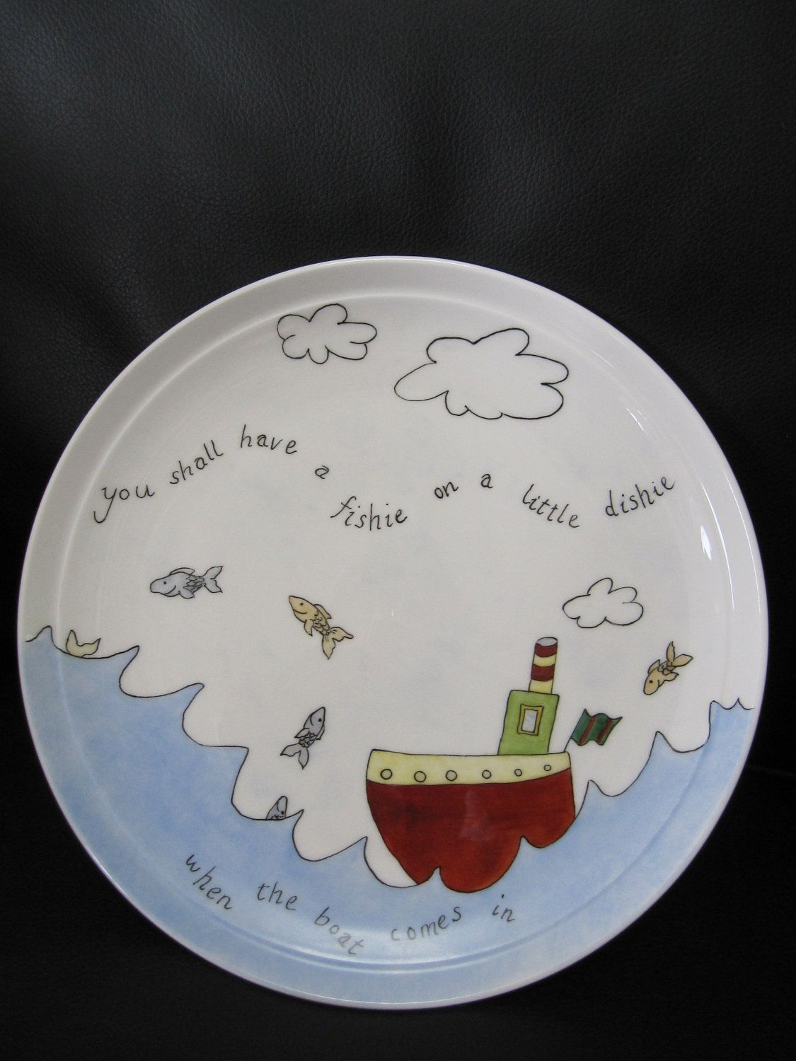 plate hand painted The Sea, a Boat and Fish for a child