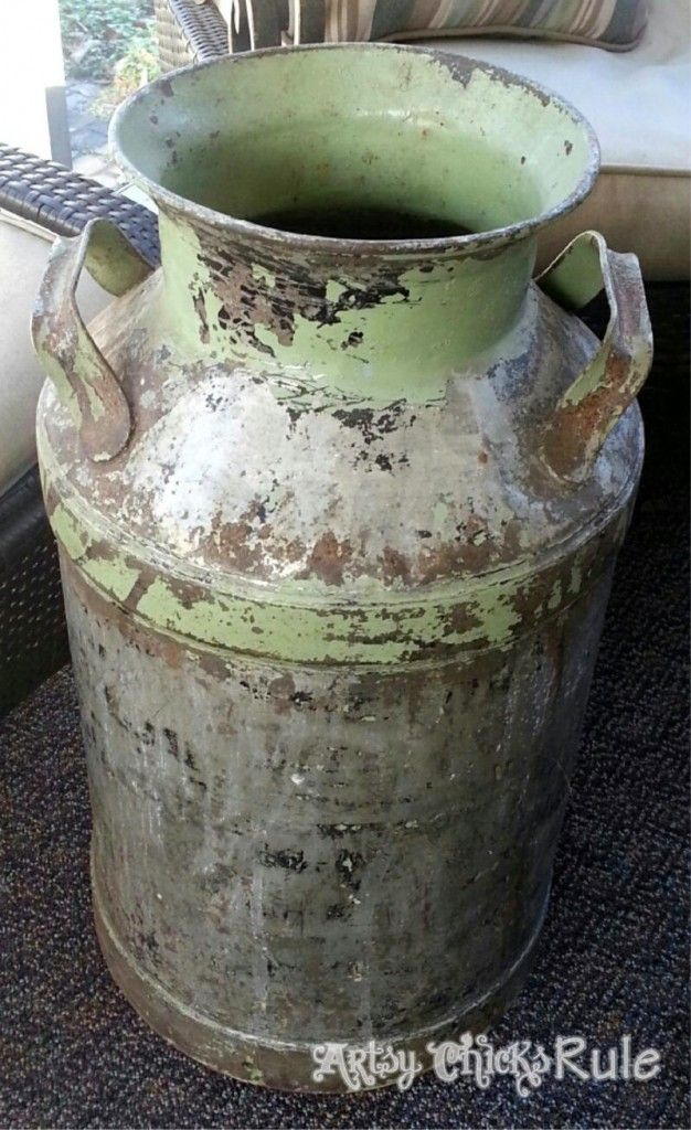 Old Milk Can Makeover Tutorial Crafty Old Milk Cans