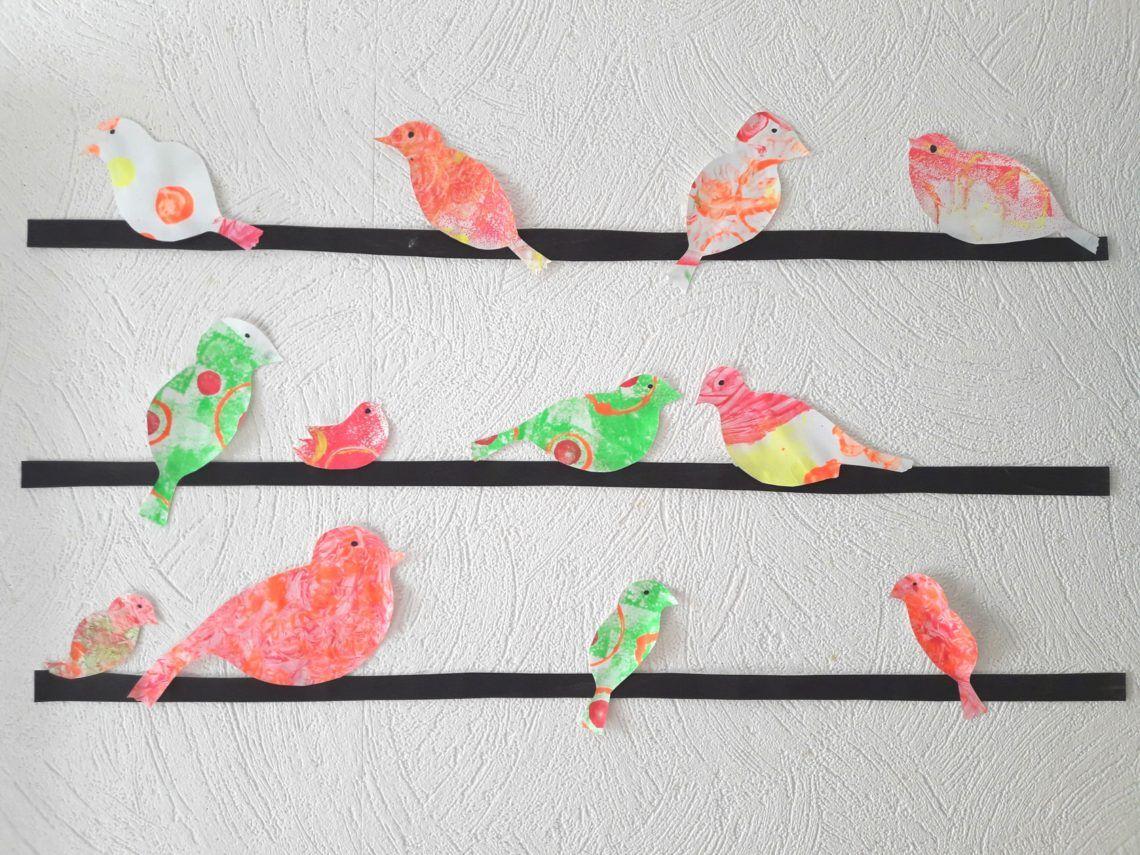 Sticker Oiseaux Sur Un Fil ribambelle d'oiseaux sur un fil - | bricolage printemps