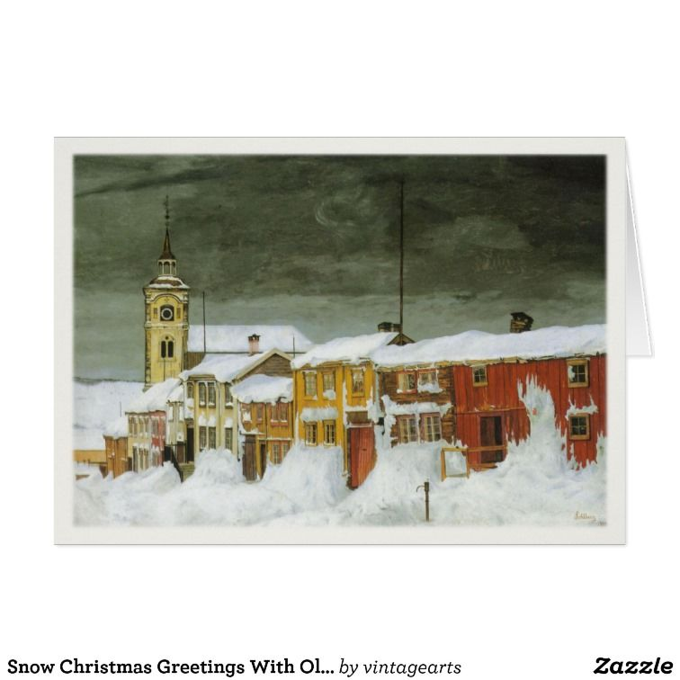 Snow Christmas Greetings With Old Painting Holiday Card | Zazzle.com