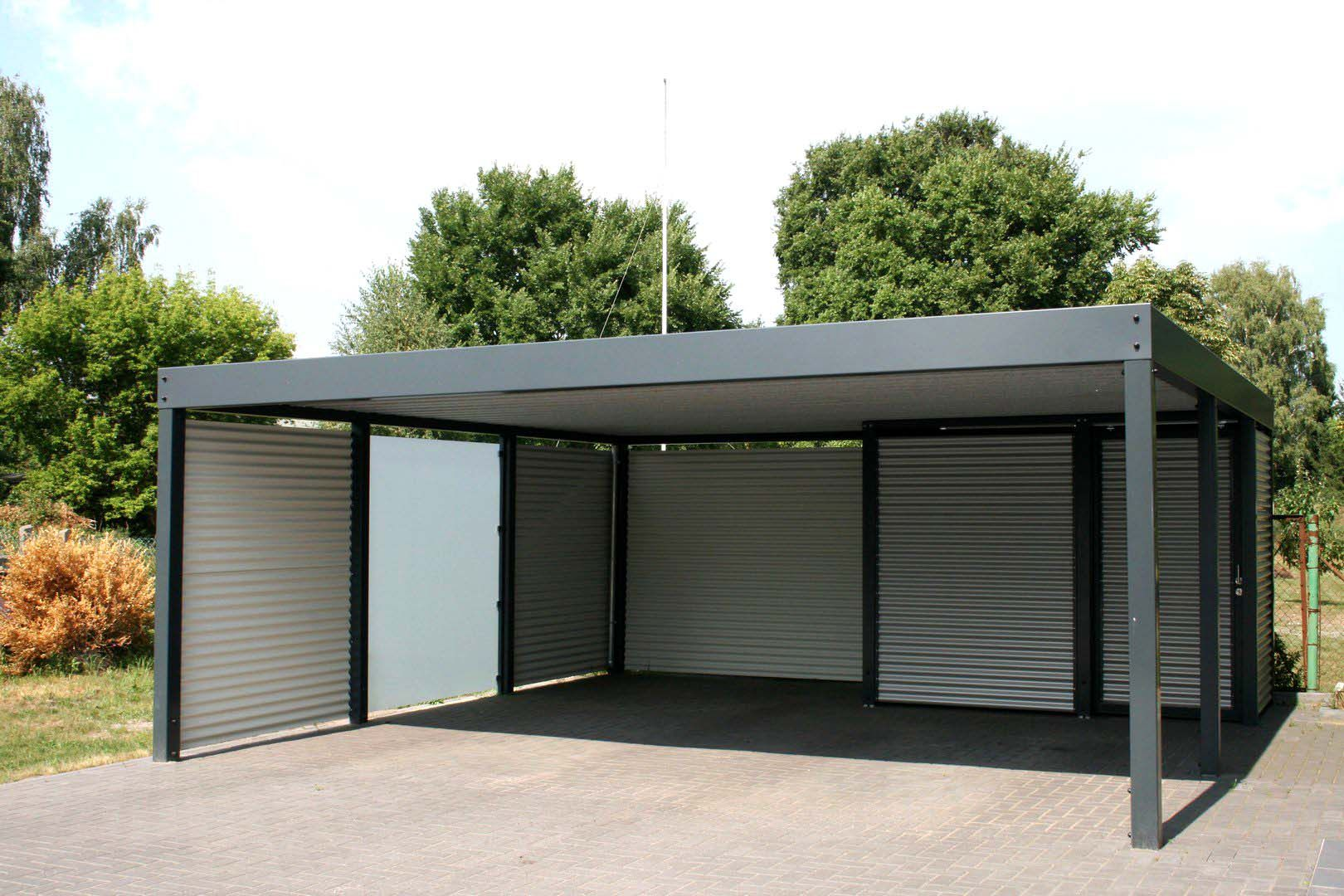 Design Metall Carport aus Glas Stahl Blech Österreich