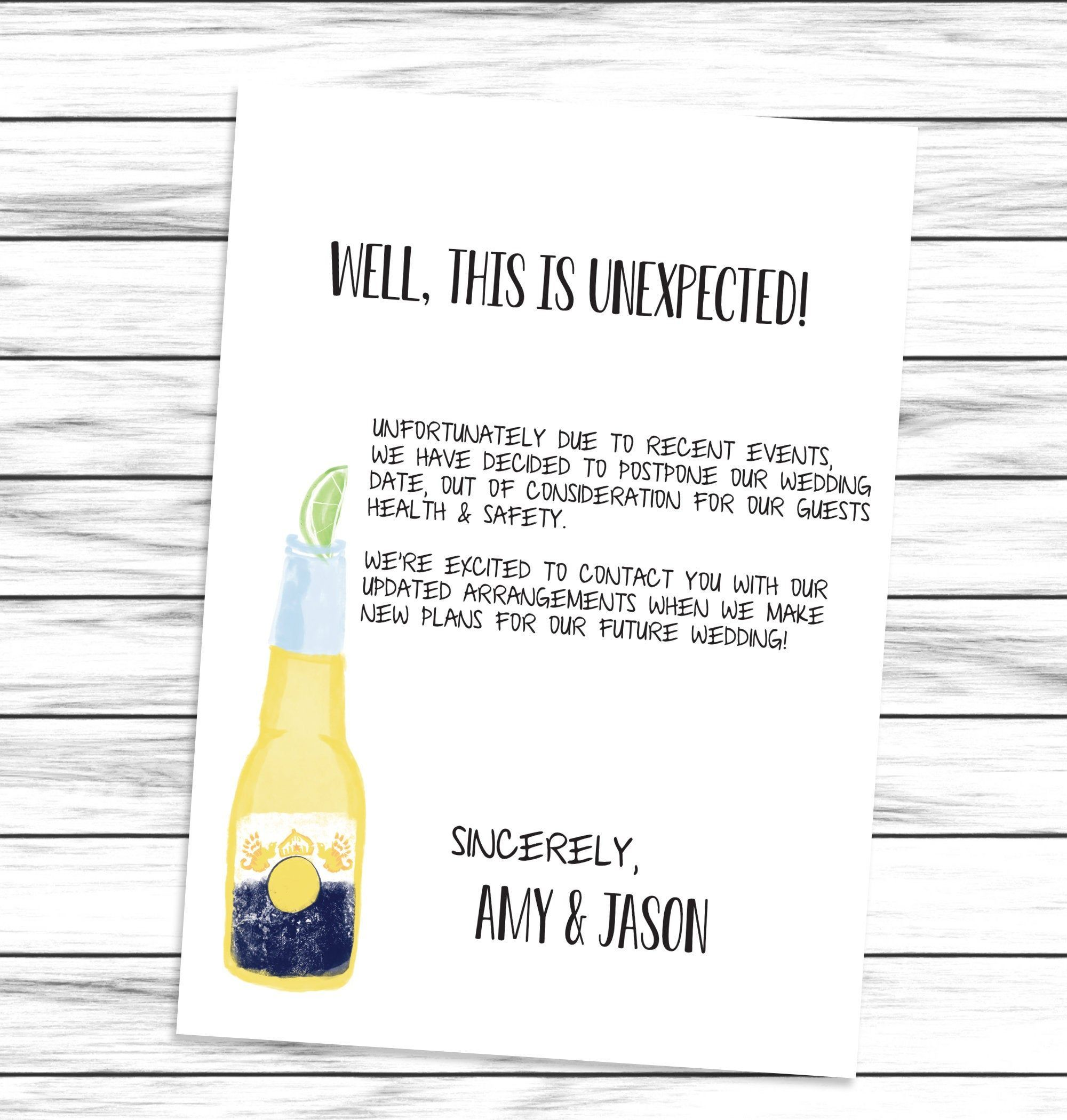 Announcement Change the Date Wedding Postponement Download Digital Template Wedding Cancellation Printable