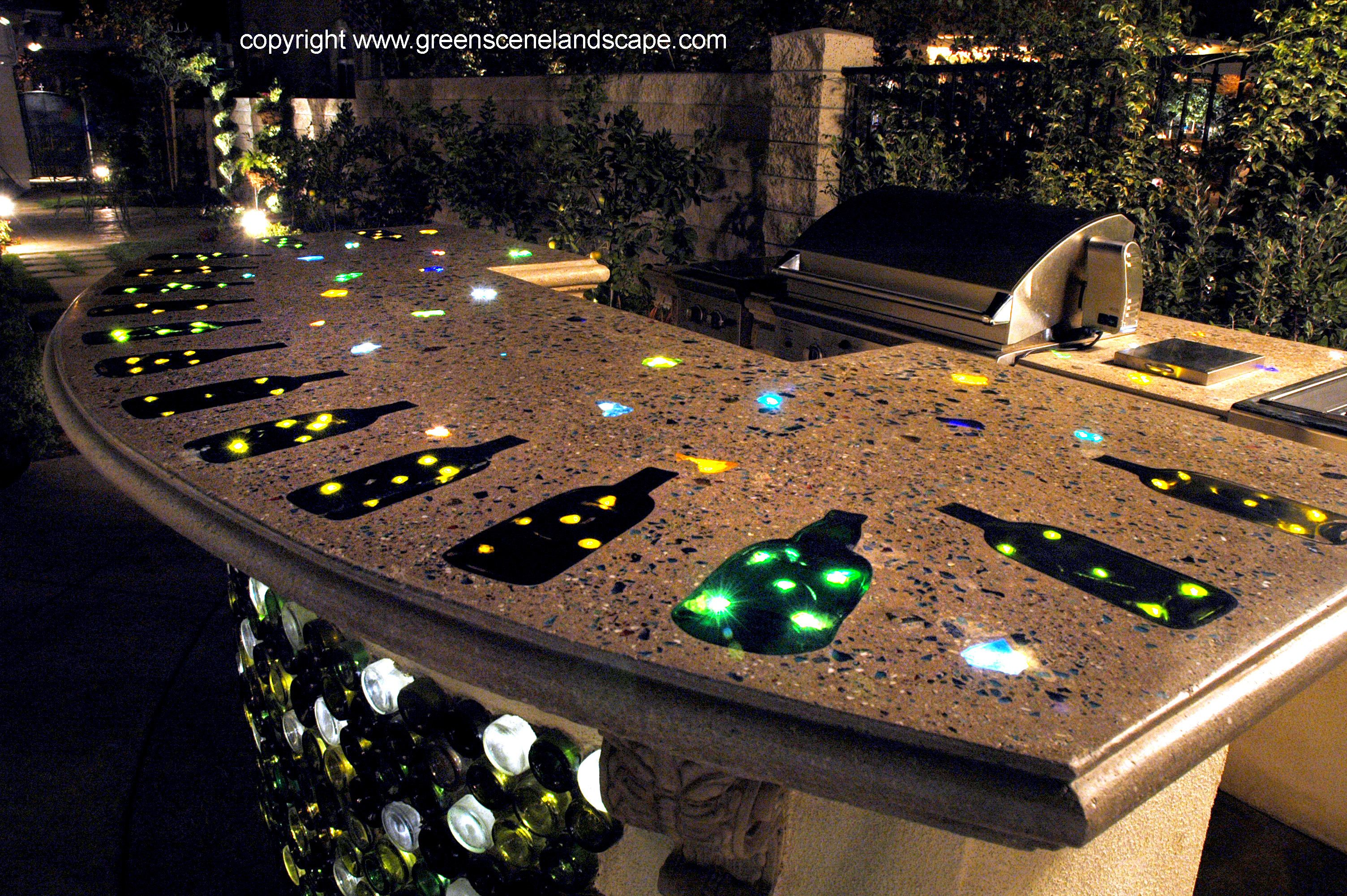 Concrete countertop recycled glass aggregate g