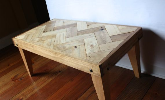 rustic pallet coffee table - herringbone design -(chevron, zigzag