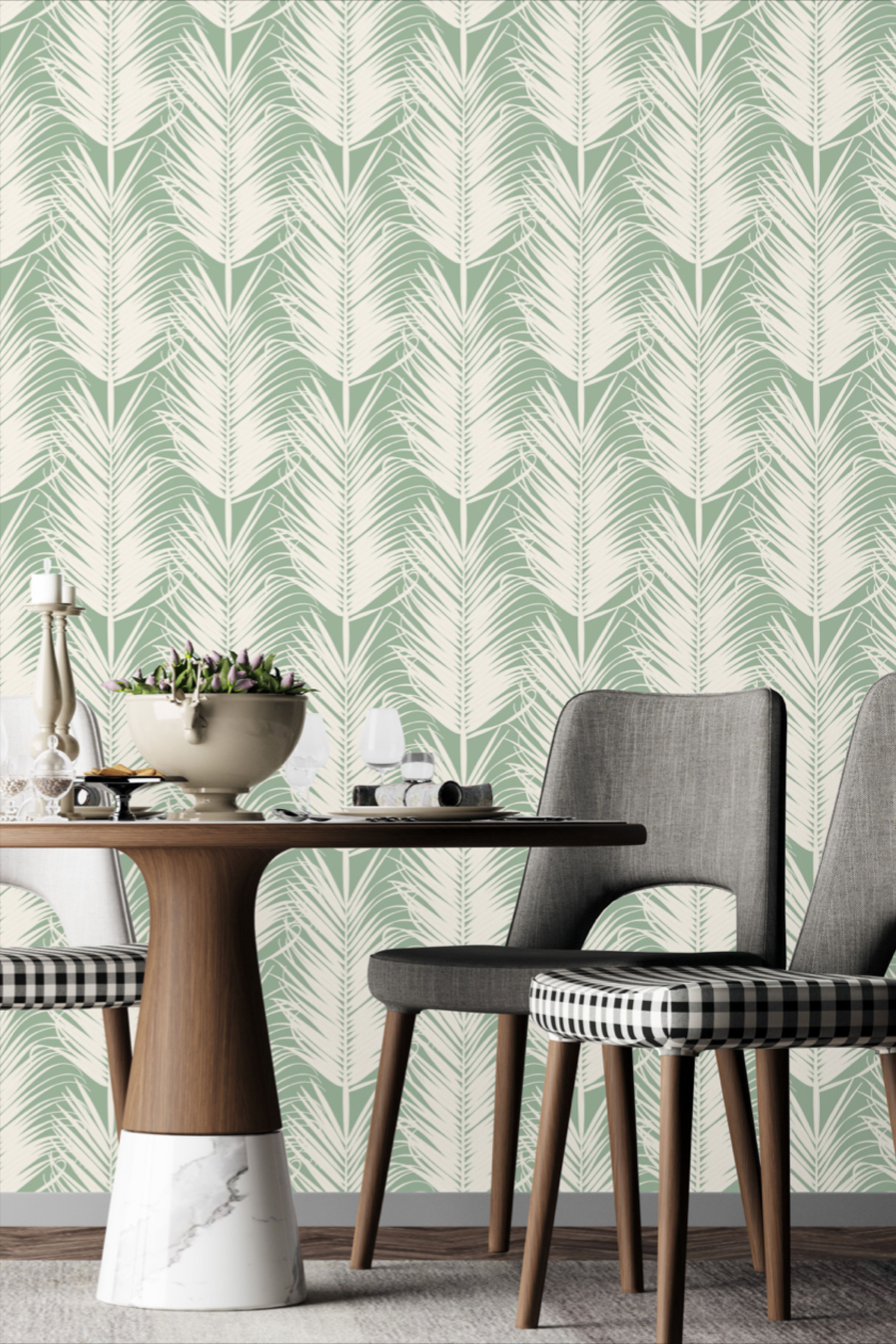 Sage Green Feather Wallpaper Peel And Stick Green Feathery Palm Self Adhesive Wall Mural Botanical Leaves Wall Covering In 2020 Green Walls Living Room Sage Green Living Room Living Room Green