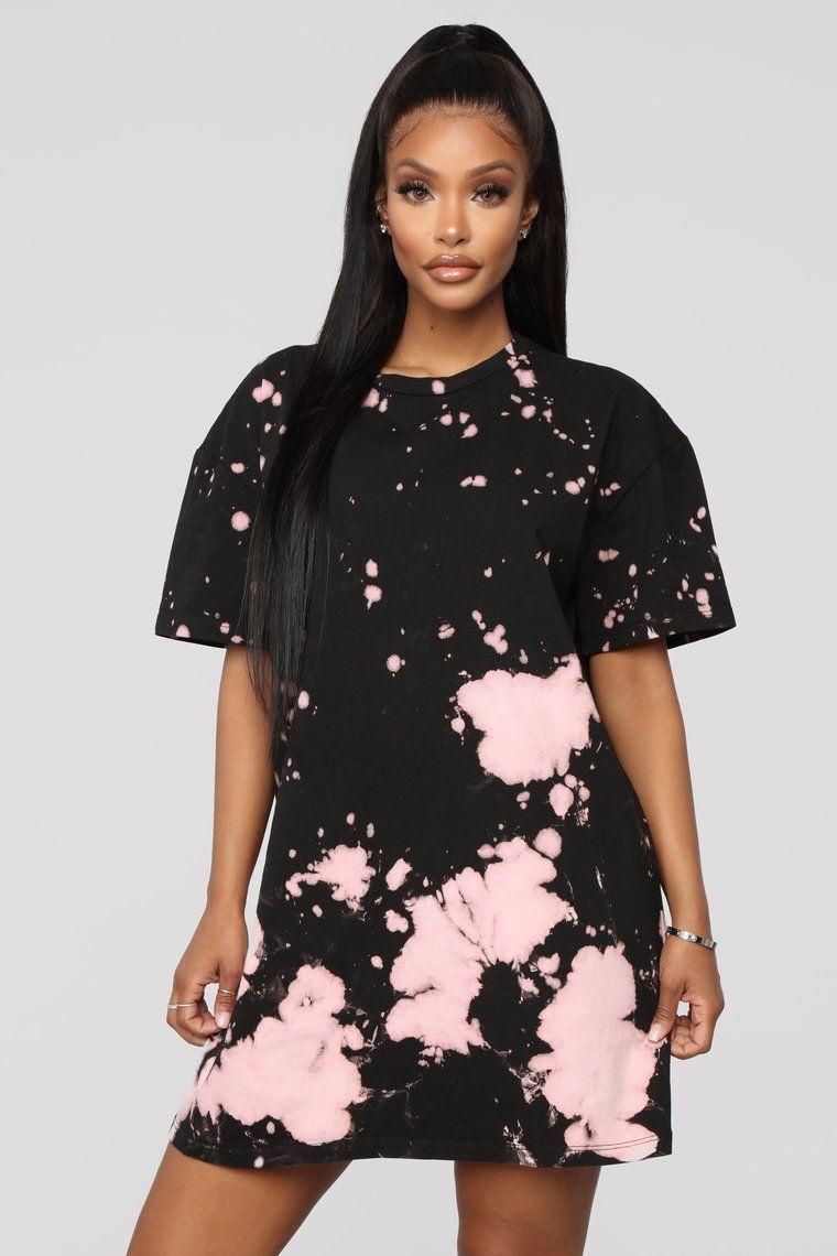 Missed A Spot Tie Dye Dress Black/Pink Tie dye mini