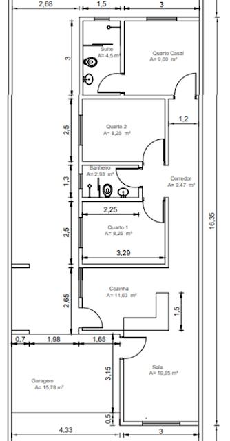 Planta de casa térrea com 3 quartos