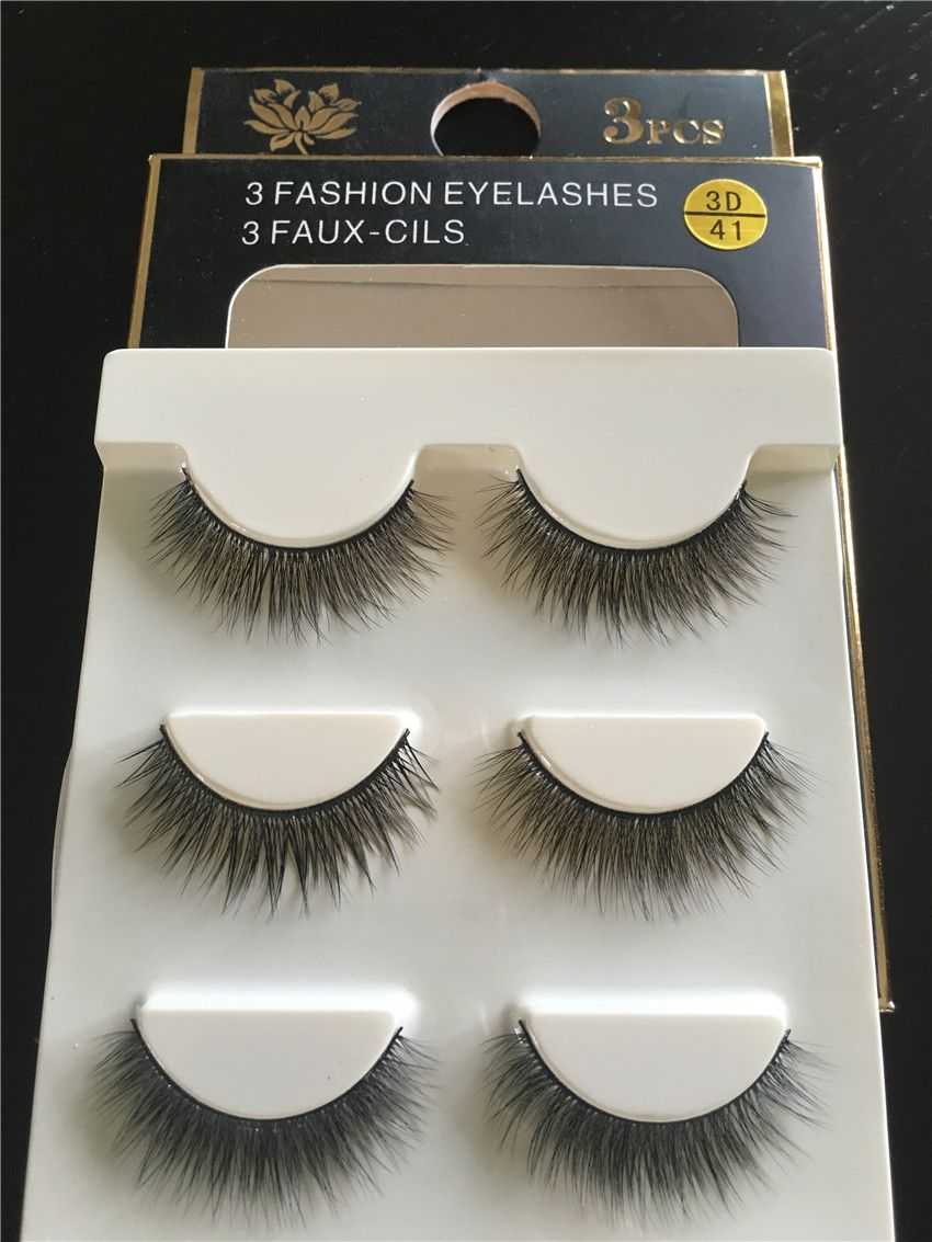 9ff4128996d 3 pairs /set 3D41 tapered cross Thick False Eye Lashes Extension Makeup  Super Natural handmade
