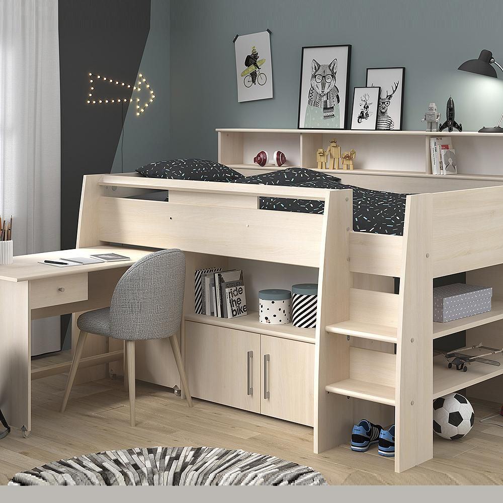 Parisot Kurt 1 Midsleeper Cabin Bed In 2020 Cabin Beds For Kids Beds For Small Rooms Raised Beds Bedroom