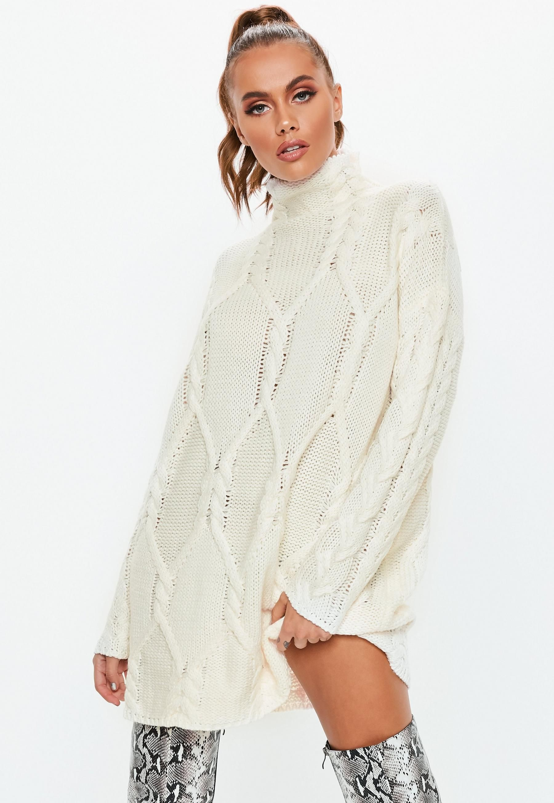 3145354a42b58d Missguided Cream Cable Knit High Neck Sweater Dress in 2019 ...