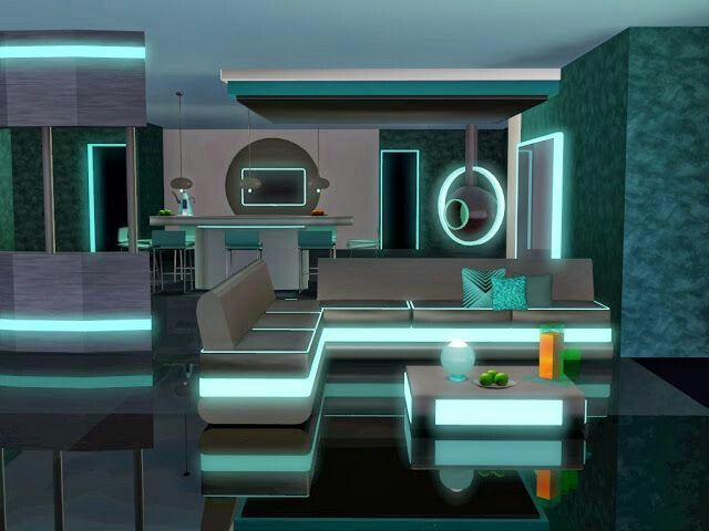 Neon blue futuristic kitchen Sims, Sims 4 houses, Club