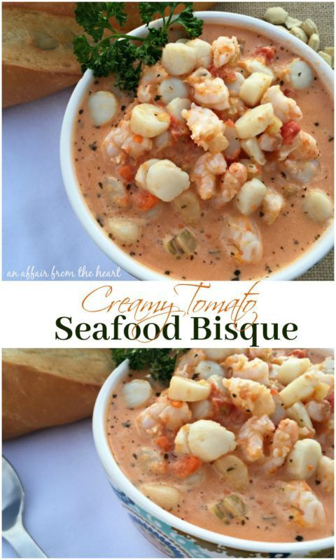 Creamy Tomato Seafood Bisque #seafoodstew