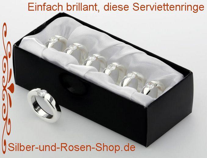 Serviettenringe 2er Set Solitär Paar Dekoration Hochzeit Geschenk Silber Deko