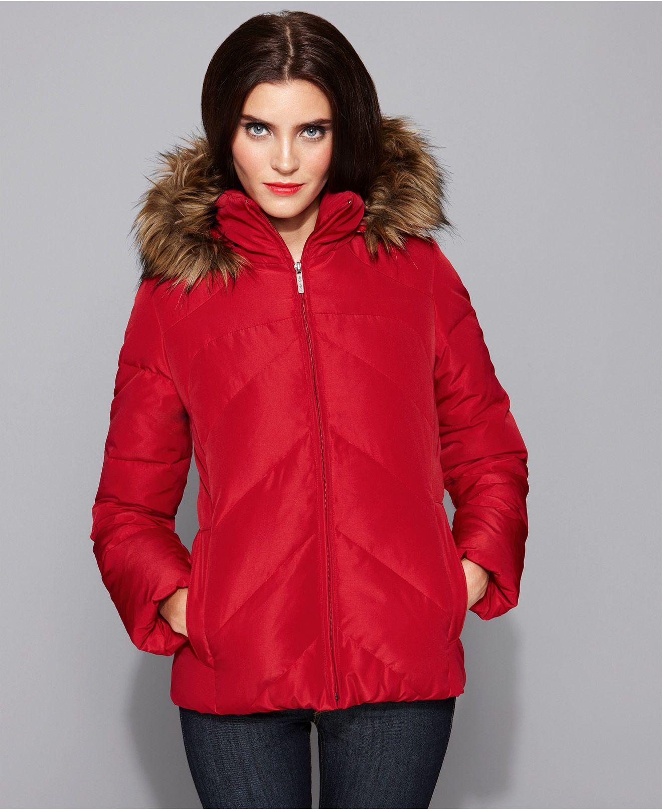 8ced3ac7c Calvin Klein Coat, Short Hooded Faux Fur Trim Down Puffer ...