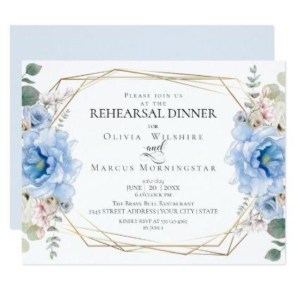 Wedding Rehearsal | Watercolor Sky Blue Peonies Invitation | Zazzle.com #bluepeonies