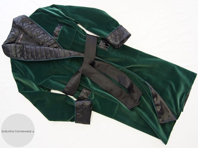 Mens Custom Dressing Gown Dark Green Black Mens Dressing Gowns