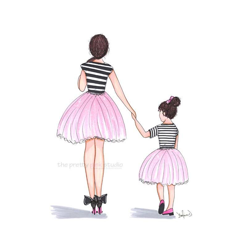 Fashion Illustration Mother Daughter Print Mom And