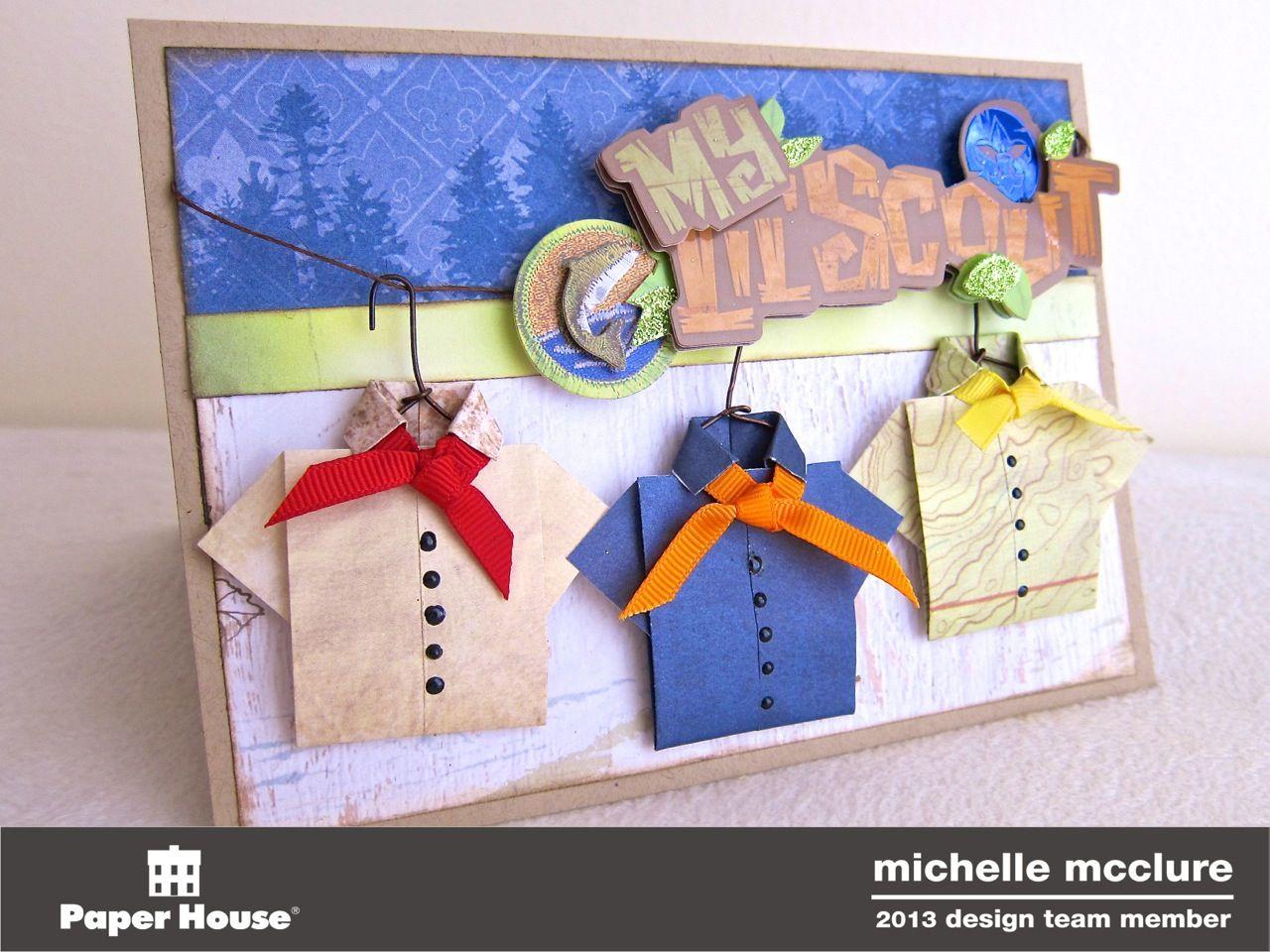 Girl scout scrapbook ideas - Origami Boy Scout Shirt Card Scrapbook Com