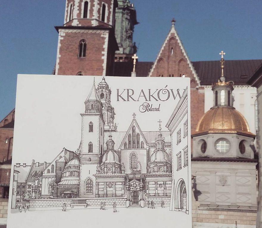 他在歐洲旅遊每到一處新景點,就當場畫下比眼中畫面更美的「城市之美 ...