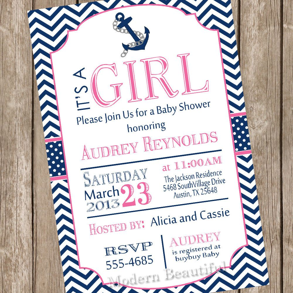 Baby Shower Invitation Nautical Baby Shower Girl Baby Shower Invite  Printable Baby Navy Baby Pink Baby Polka Dot Ahoy Baby Anchor Baby | Shower  Invitations, ...