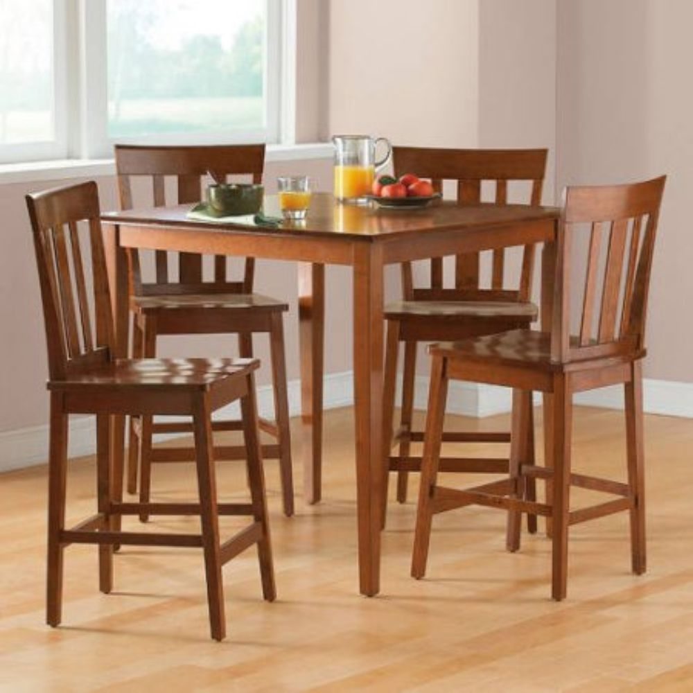 Pub Table Set Counter Height Dining Furniture 5 Piece Kitchen Chairs Cherry