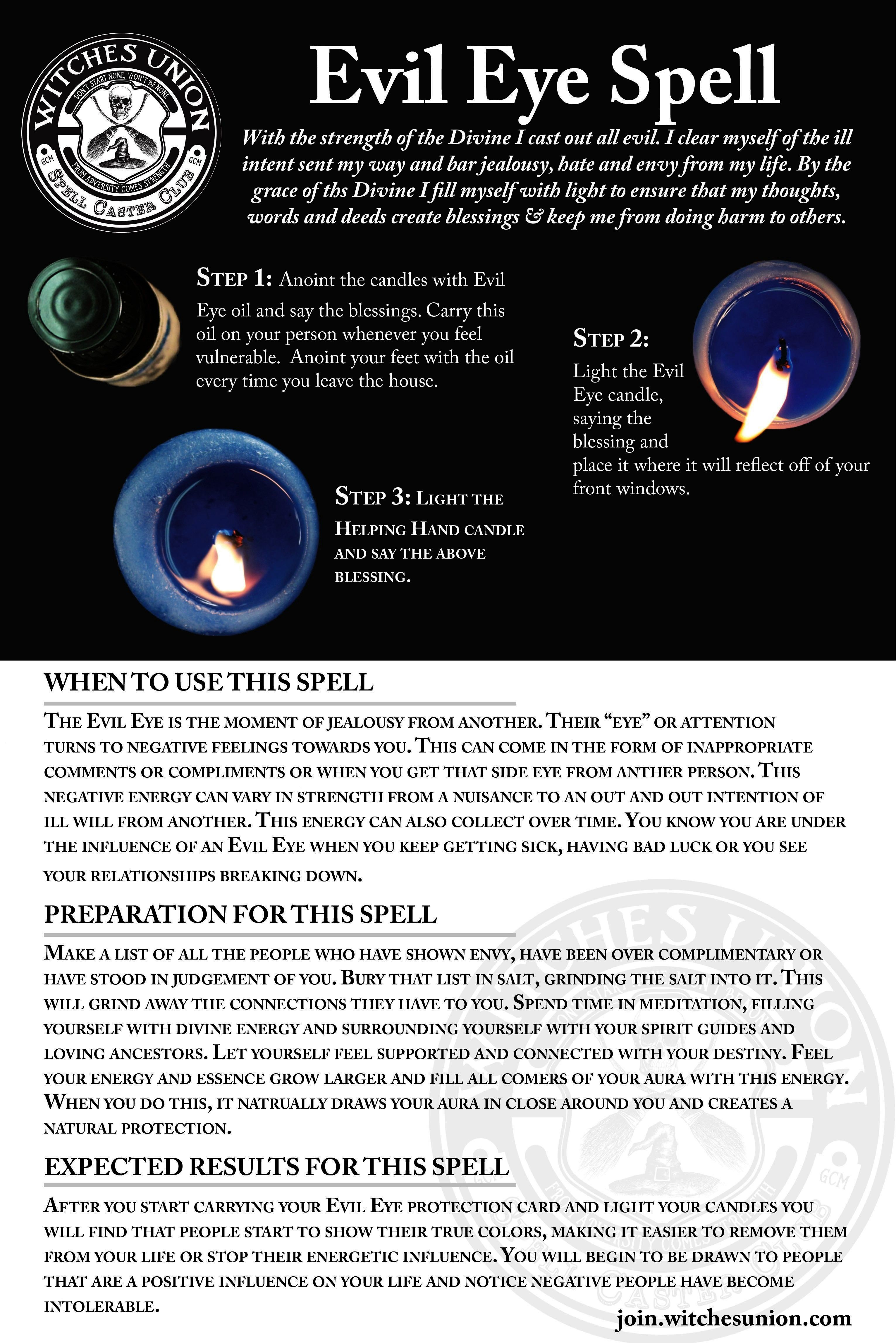 Spell  ProtectionEvil Eye Spell  ProtectionEye Spell  ProtectionEvil Eye Spell  Protection 2 pages  85 x 11 inches This fullcolor PDF printable tarot cheat sheet will hel...