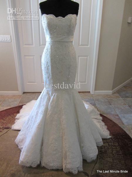 Wholesale Cheap Strapless Lace Mermaid Wedding Dress Tabitha Empire Beaded Handmade Flowers Chapel Trai Wedding Dresses Pretty Wedding Dresses Wedding Dress 10