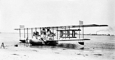 The Curtiss NC-4, which flew from the U.S. to England via Newfoundland, the Azores, and Portugal, May 1919.