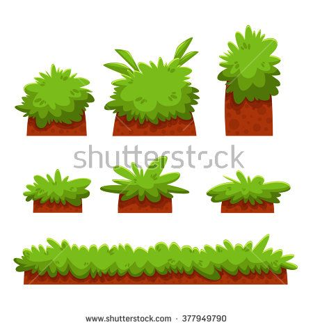 Cartoon Bushes, Hedges And Grass Leaves Set/ Illustration of a set
