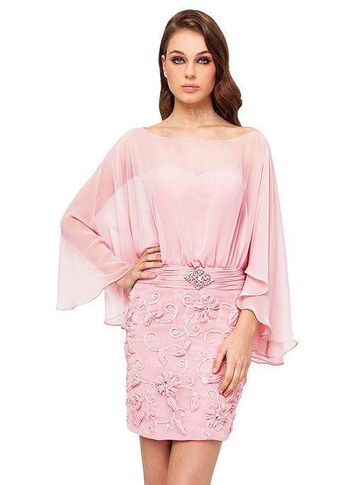 Sheath/Column Scoop Neck Short/Mini Ruffle Beading Chiffon Zipper Up Sleeves Long Sleeves Blushing Pink Summer General Evening Dress