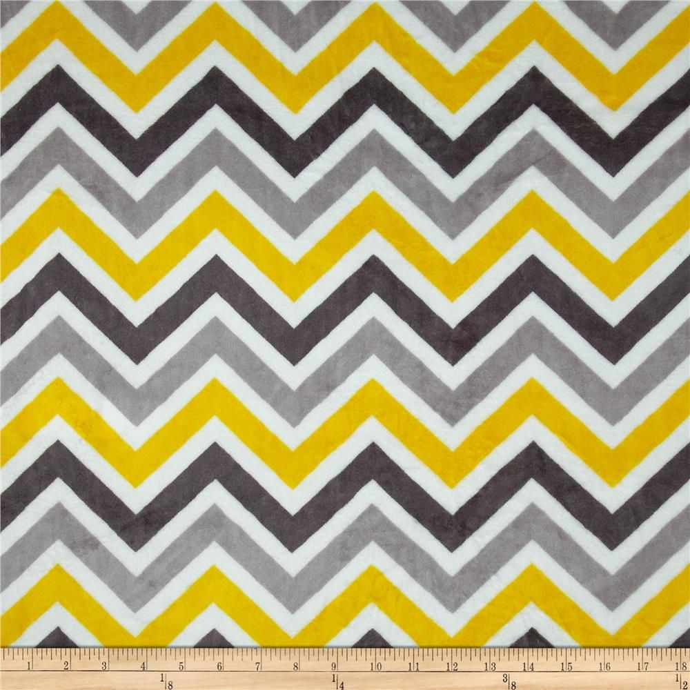Minky Cuddle Zig Zag Lemon/Silver from @fabricdotcom This ultra ...
