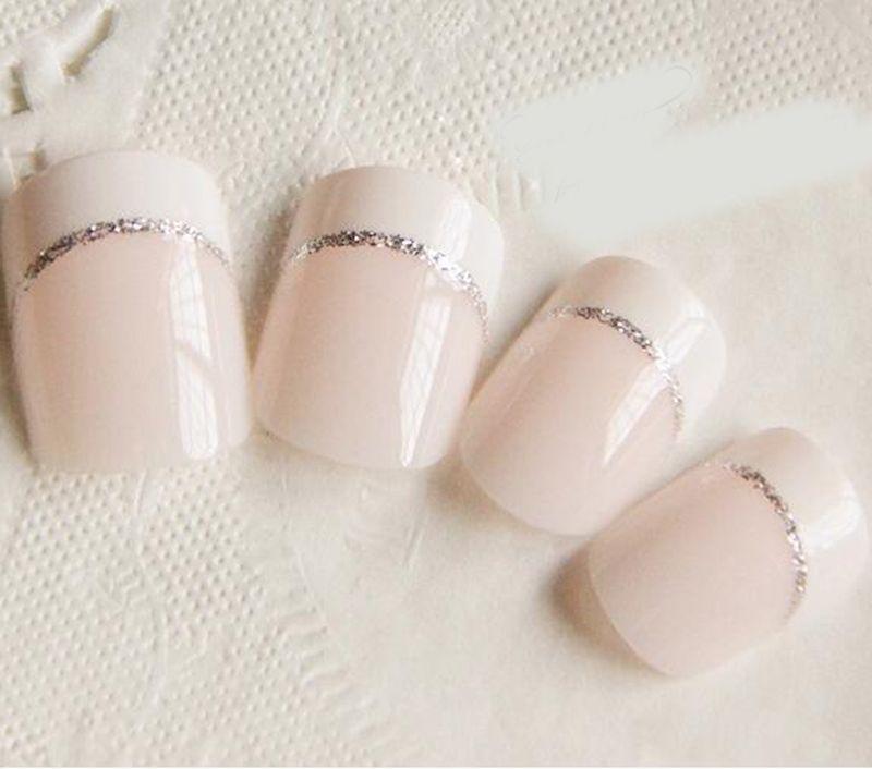 24Pcs Short French Fake Nails Beauty Light White Full Cover European ...