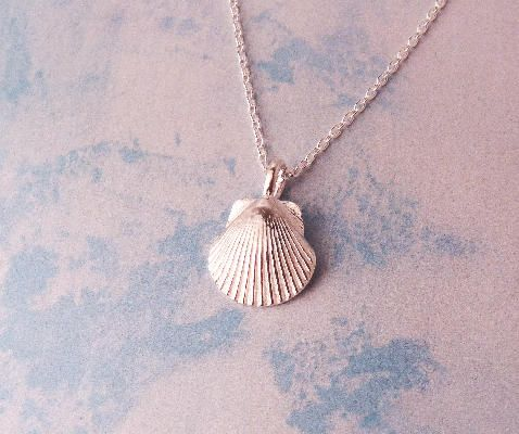 Tiny Silver Shell Necklace. Jewelry inspired by the sea. #silver #jewelry
