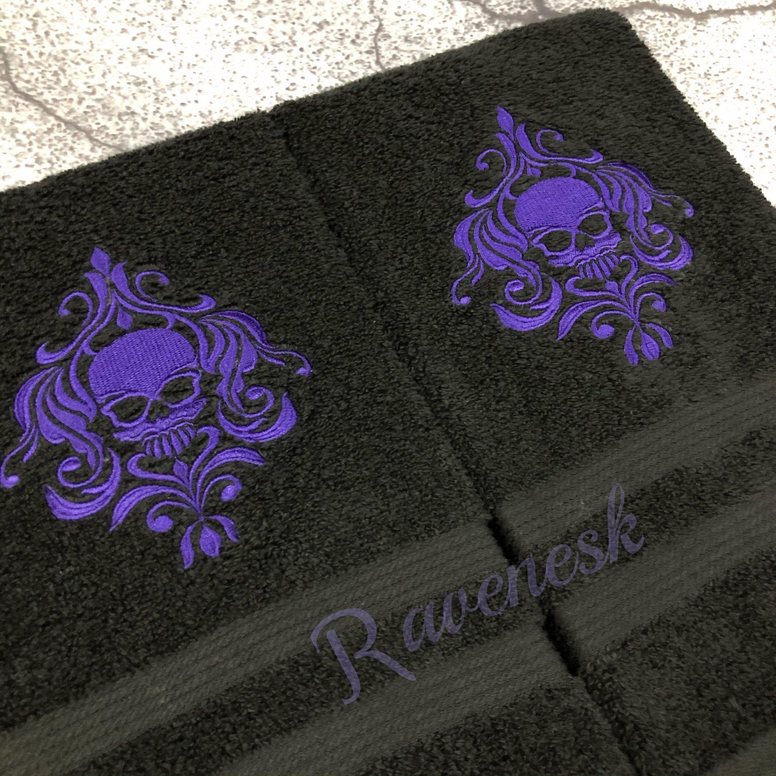 Damask skull hand towels, gothic bathroom decor, purple skulls, goth bathroom, purple and black towels, Ravenesk#bathroom #black #damask #decor #goth #gothic #hand #purple #ravenesk #skull #skulls #towels