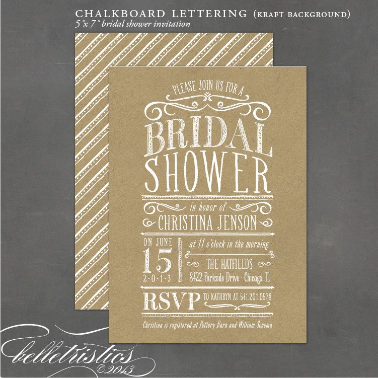 chalkboard bridal shower invitation diy print your own invite