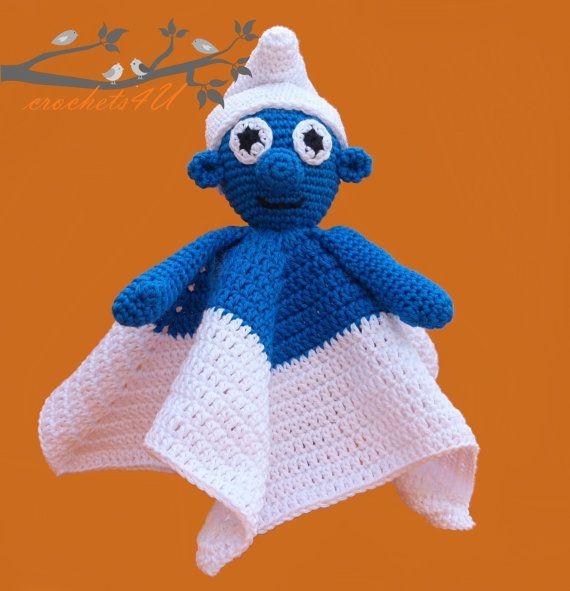crochet pattern lovey smurf, security blanket, crochet pattern ...