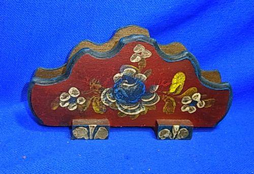 Vintage German Folk Art Tramp Art Handpainted Wood Napkin Holder # 9