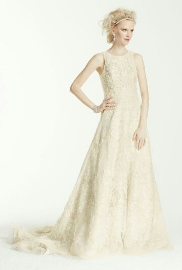 Absolutely Beautiful Ivory Organza A-Line Bridal Gown With Tank Style Bodice, Lace & Lace Applique Throughout The Entirety Of The Dress, & Featuring A Chapel Length Train; Oleg Cassini Collection For David's Bridal~~~~~~~~~~~~~~~