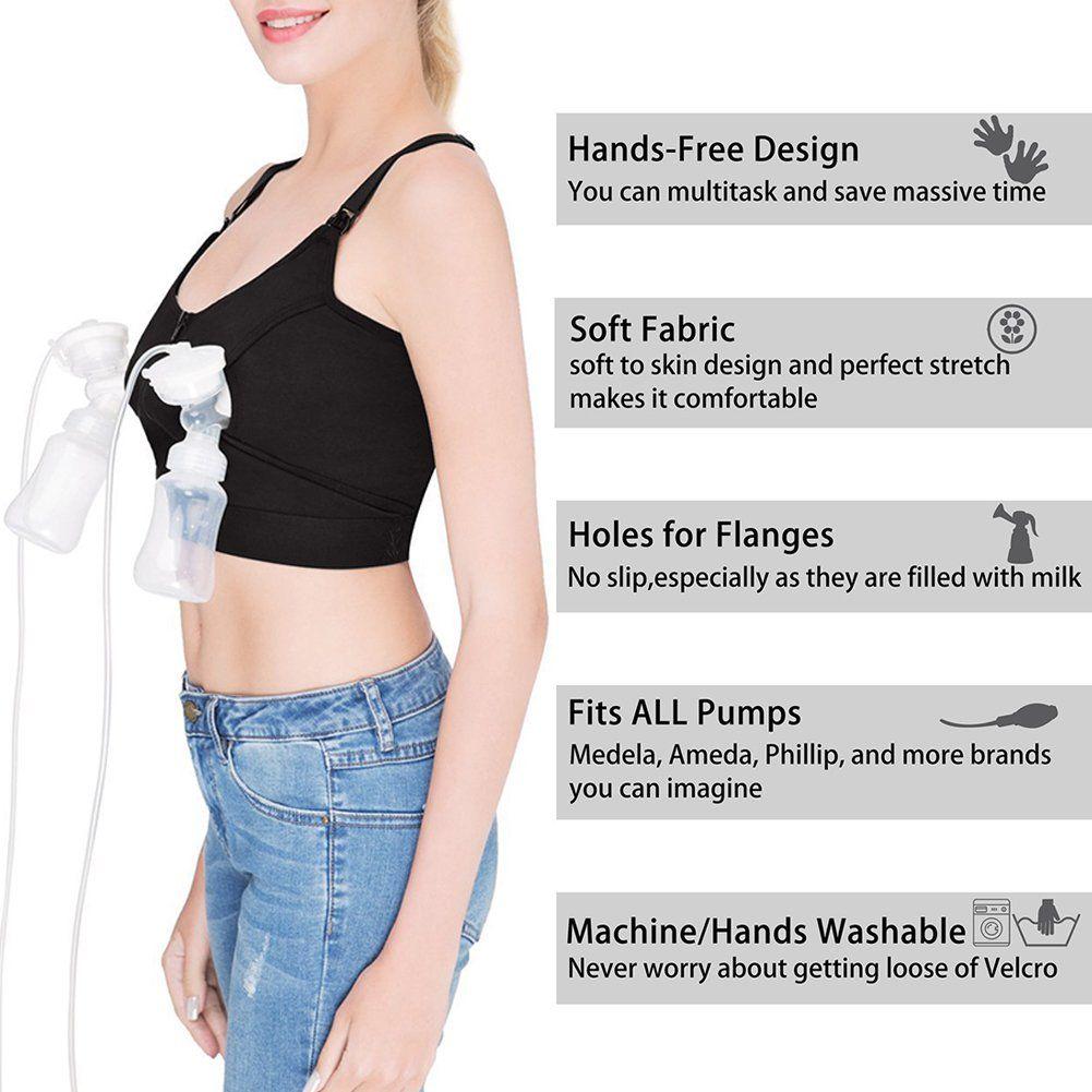 a12cff1be9 breastfeeding accessories - 2 Pack HandsFree Breast Pump Bra Breastfeeding  Bra with WireFree for Breast Pumps