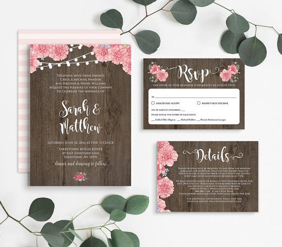 Rustic Wedding Invitation Template Instant By MintyPaperieShop