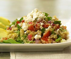 Nutty in flavor, quinoa is high in protein, fiber, and vitamins. A great choice to pair with tomatoes, spinach, and feta cheese for this 30-minute main dish recipe.