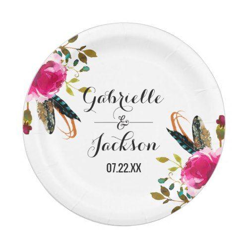Boho Chic Floral Watercolor Wedding Monogram Paper Plate  sc 1 st  Pinterest & Boho Chic Floral Watercolor Wedding Monogram Paper Plate | Elegant ...