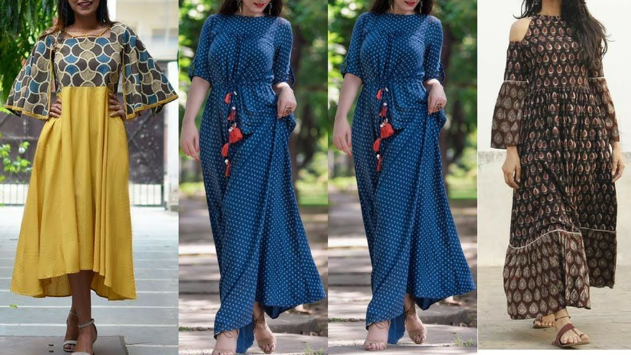 Latest cotton maxi dresses with sleeves indo western maxi