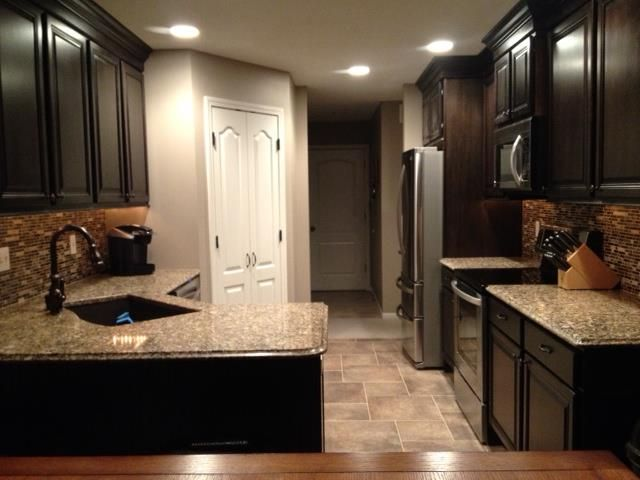 Kitchen floors with espresso cabinets google search for Flooring before cabinets