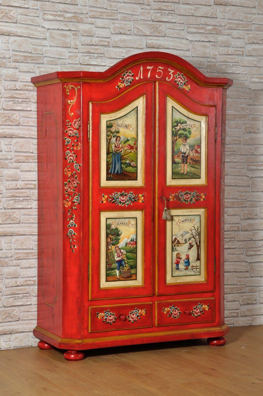 armadio decorato a mano con le 4 stagioni tirolesi pitture di alta ...