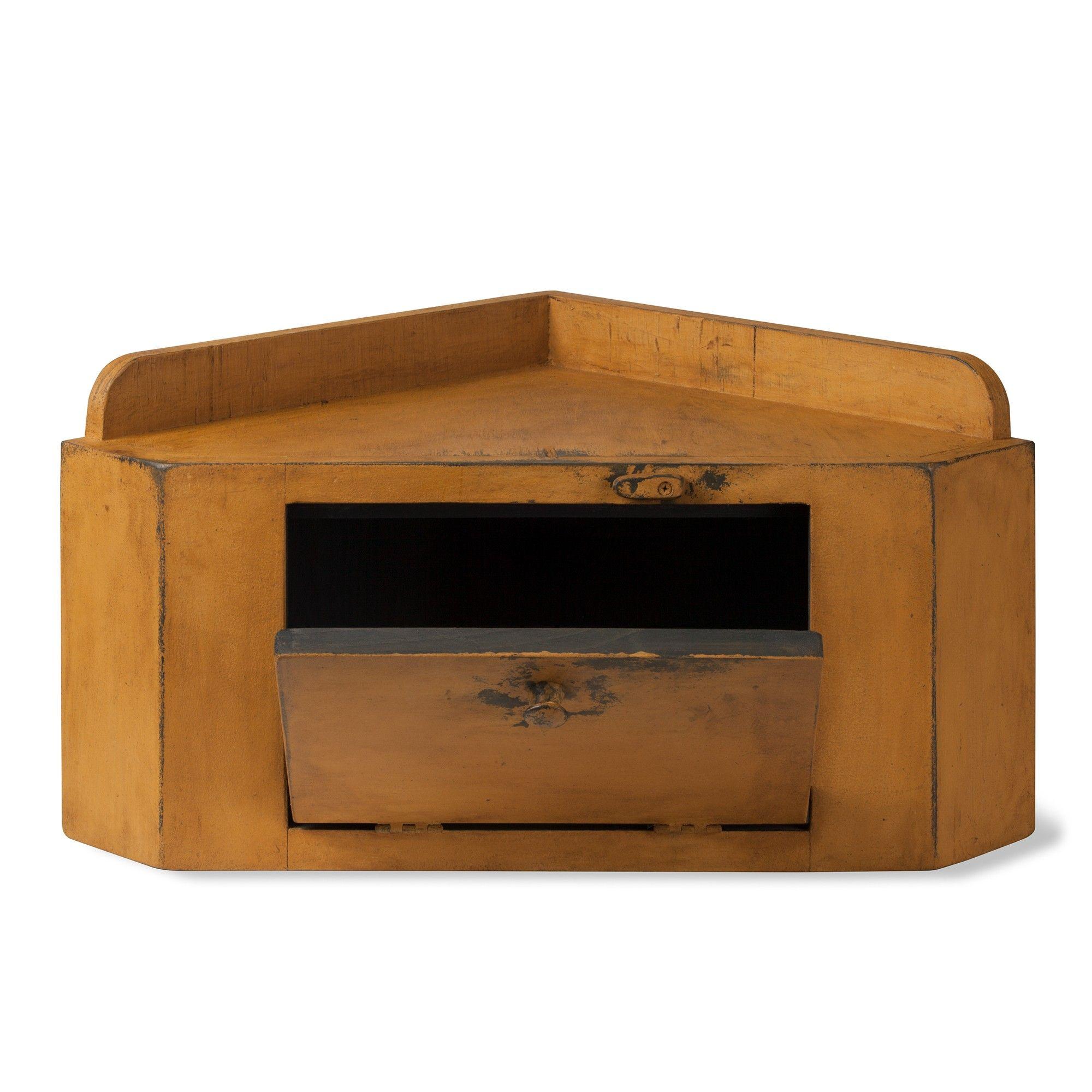Primitive Corner Bread Box Cupboard Bread Boxes Handmade Wooden