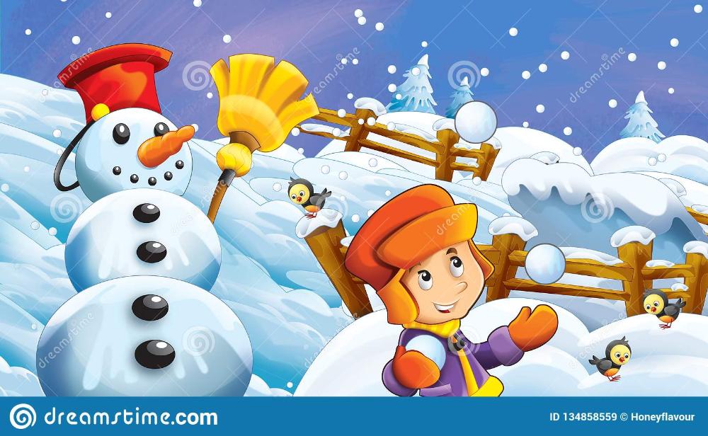 Cartoon Winter Scene With Kids Playing Kids Playing Winter Scenes Scene Kids