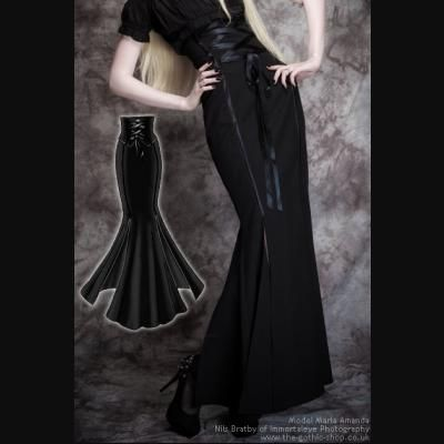 Long Black Corseted Fishtail Mermaid Gothic Skirt