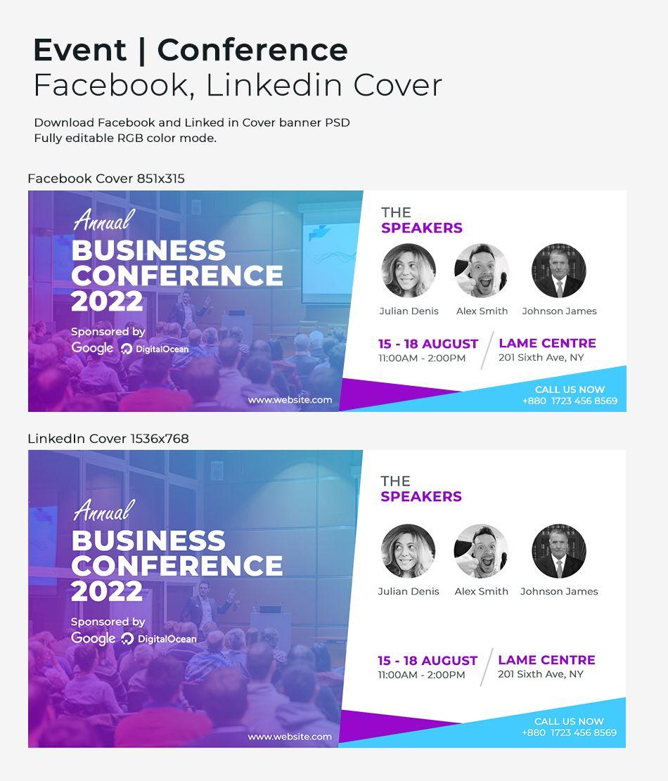 Business event Facebook/Linkedin cover design psd