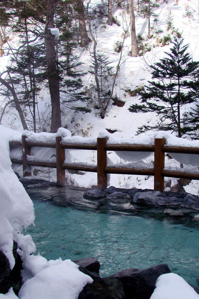 Japanese hot spring in winter. It's a Winter Wonderland